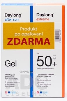 Daylong extreme SPF 50+ + After sun Gel ZDARMA lócio 200 ml + gél 200 ml, 1x1 set